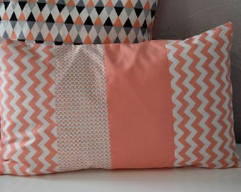Coral and white - 50 x 30 cm - Scandinavian Style - Cushion cover