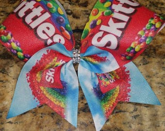 """Skittles Glitter Bow with 3"""" ribbon."""