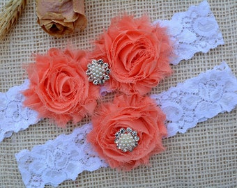 Coral Wedding Garter, White Garter Set, Bridal Clothing, Garter For Wedding, Gift For Brides, Lace Garter Set, Garter Set, Coral Keep Garter