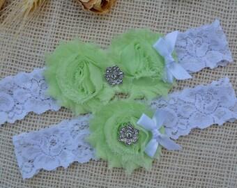 Lime Wedding Garter, White Garter Set, Lime Green Garter, Lime Keep Garter, Bridal Garter, White Wedding, Choose Rhinestone, Pearl Garter