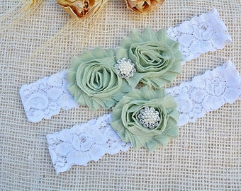 Linden Green Garter, Olive Bridal Garter, Army Bridal Garter, Wedding Garter Mint, Army Wedding, Lace Garters, Camo Garter Set, Mint Garter