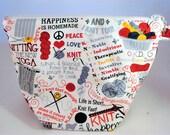 Knit Happens, Knitting Project Bag, Zippered Project Bag, Knitting Wedge Bag, Yarn Tote Bag, Yarn Bag, Knitting bag,