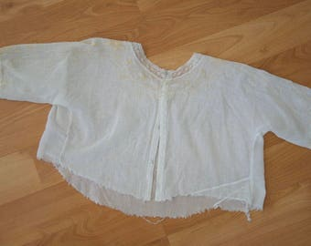 Antique White Beaded Lace Blouse // Edwardian 1910s Short Sleeve Cropped Top // Small