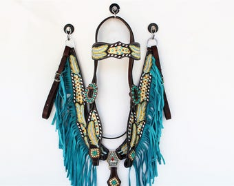 Turquoise Fringe  Feather Tooled Headstall Leather Western Horse Trail Bridle Breast Collar Plate Barrel Racer Cowgirl Bling Tack