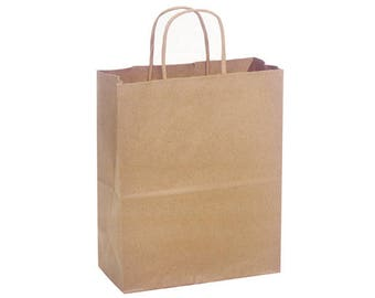 Brown Kraft Paper Shopping Bags  10 bags, handles, small, favors, wedding, gift giving, packaging