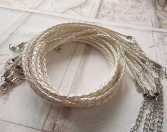 """White Leather Cord, Braided Leather Cord, 17"""" White Faux Leather Necklace Cord, Adjustable Finished Round Leather Cord + Lobster Clasp"""