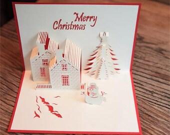Beautiful Christmas scene pop up /3D Christmas card