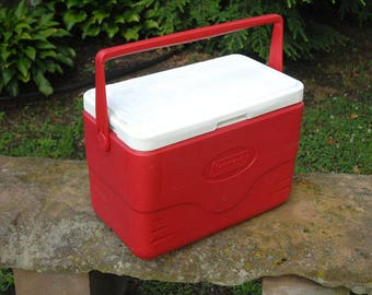 Vintage Coleman Cooler, Camping, Tailgating, Red and White Cooler