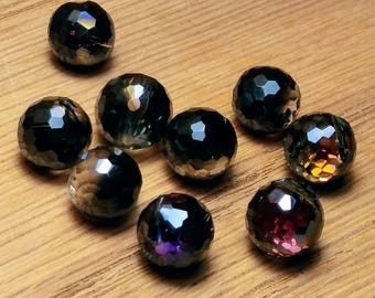 Bauble Shaped Faceted Glass Drops, 9mm, 9ct.