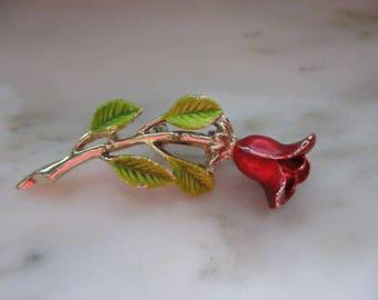 Vintage Gold Tone & Enameled Rose Pin or Brooch