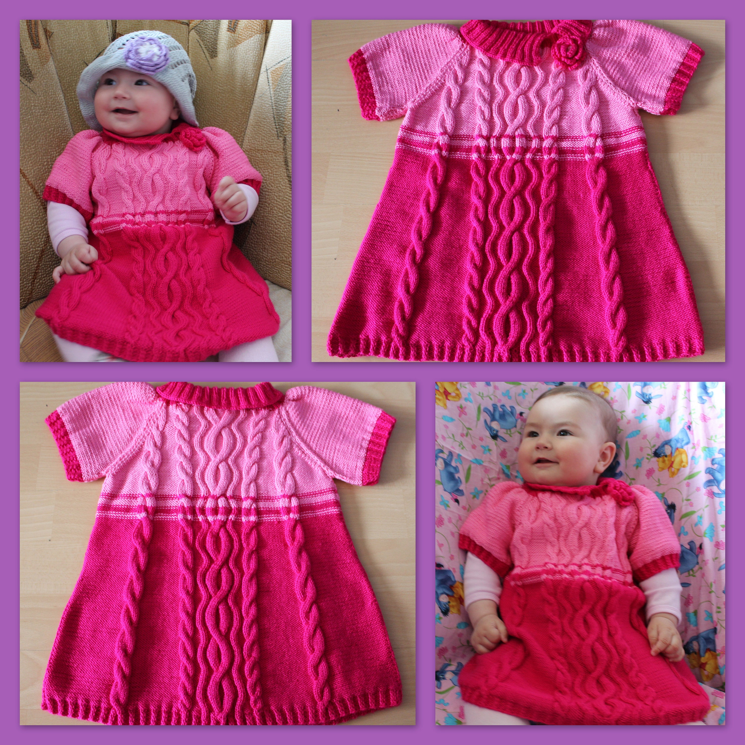 Hand knit dress Baby shower Baby girl dress Pink tunic Knitting baby
