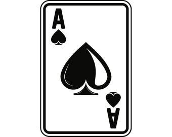 Ace Of Spades #2 Playing Card Gambling Gamble Casino Bet Betting Poker Blackjack Games .SVG .EPS .PNG Clipart Vector Cricut Cut Cutting File