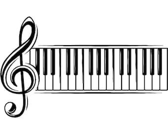 Sheet Music #3 Musical Note Symbol Treble Clef Classical Piano Keyboard Logo .SVG .EPS .PNG Digital Clipart Vector Cricut Cut Cutting File