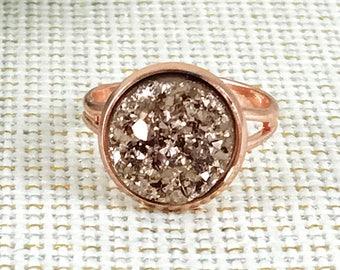 Rose Gold Druzy Ring - Druzy Ring - Drusy Ring - Adjustable Ring - Rose Gold Ring -  Ring - Rose Gold Jewelry - Rose Gold - Druzy - Gift -