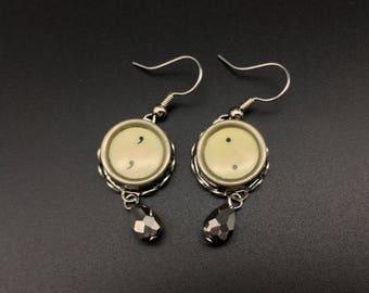 Typewriter key earrings, vintage typewriter key earrings, vintage dangle earrings, vintage earrings,