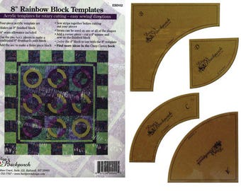 "Elisa's Backporch Designs Rainbow Block Acrylic Templates for 8"" block,"