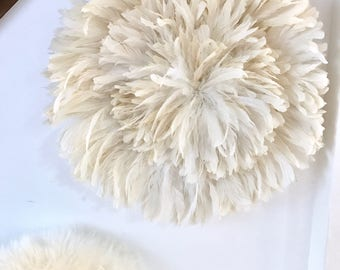 Natural Off White Handcrafted African JuJu Hat Bohemian Feather Decor Custom Order Medium Size