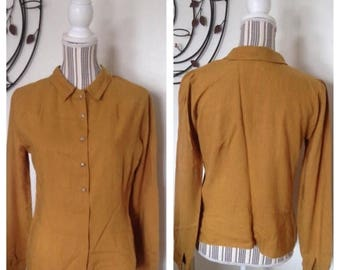On Sale Brown Hand Sewn Long Sleeve Shirt with Buttons