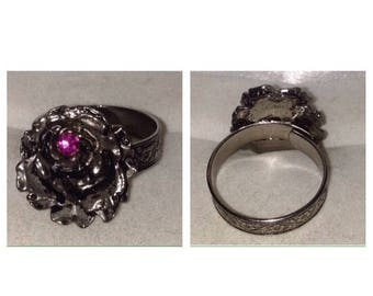 Anniversary Sale Vintage Silver Tone Rose Ring