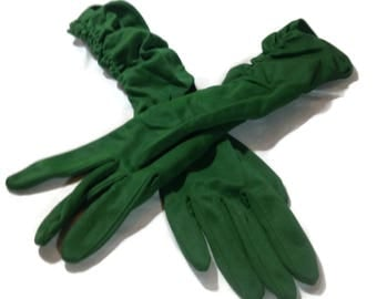 Vintage Max Mayer & Co Green Ruched Gloves
