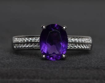 promise ring natural amethyst oval cut purple gemstone sterling silver ring February birthstone