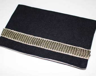 Checkbook suede and gold sequined band holder