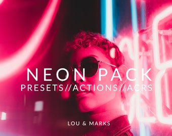 Neon Pack for Lightroom & Photoshop Actions, Presets, ACRs for Bright Portrait and Modern Wedding Edits in Adobe Lightroom Photoshop