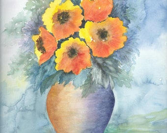 Orange bouquet - original watercolor painting