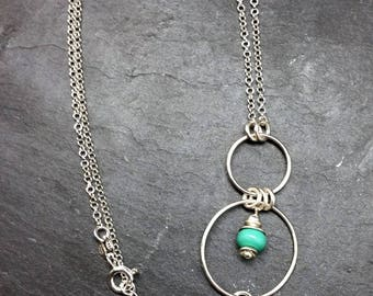 Celadon silver necklace and its glass Lampwork beads
