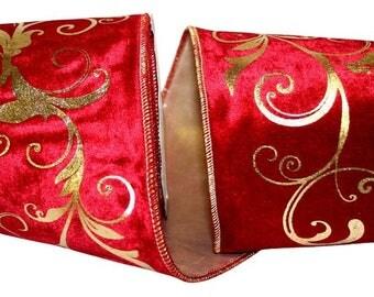 """4"""" Christmas Velvet Ribbon w/ Metallic Scroll Center - WE - 2 Colors"""