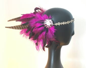 Pink feather festival headdress