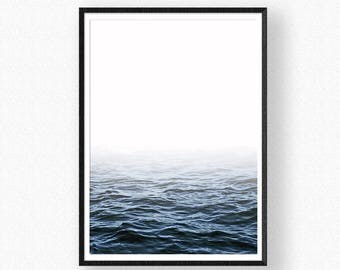 Ocean Print, Water Print, Sea Wall Art, Scandinavian Prints, Digital Wall Art, Ocean Waves, Blue Wave Print, Ocean Waves Print, Ocean Photo