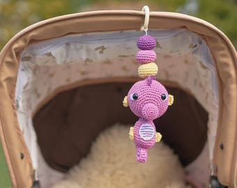 Seahorse Mobile- Seahorse Rattle- Personalized rattle- Hanging Mobile- Play Gym toy- Car seat Toy- Pram Toy