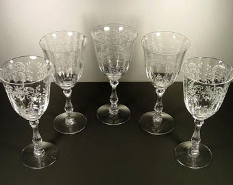 fostoria meadow rose etched clear water goblets 5 elegant crystal goblets