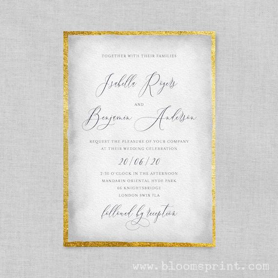 Watercolour wedding invitation pdf, Printable wedding invitation, Calligraphy wedding invitation, Wedding invite template, Gold, Grey, Pink