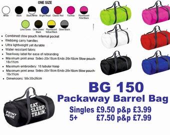 Personalised Printed Packaway Barrel Bag