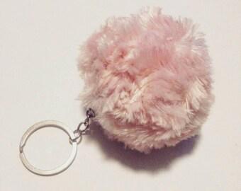 Faux fur Pompom keychain, pink pompom, cute pompom keychain, keychain, pompom, accessory, handmade pompom keychain, pink pompom keychain