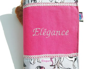 Elegant and 620 checkbook embroidered Elegance on fuchsia cotton and printed 1920