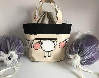 Large Knitting bag, Sheep print, knitting project bag, craft bag, crochet project bag, wip bag, spindle bag, holds a minimum of 800g yarn