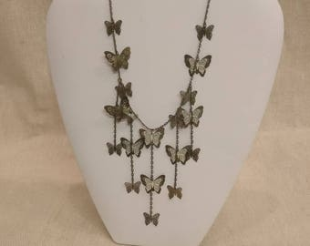 "Vintage Filigree Butterfly Necklace, 21"" long"
