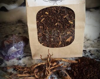 Roasted Chicory Root, Roasted Dandelion Root and Cinnamon. Herbal Coffee with a bit of Sass.
