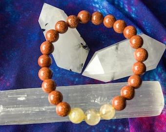 Crystal Healing Bracelet Goldstone and Citrine