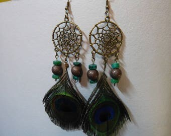 Dream catcher earrings dream & feather Peacock