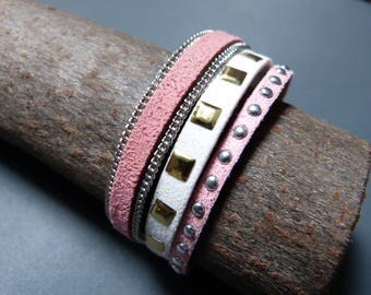 Leather Cuff Bracelet faux leather & chain