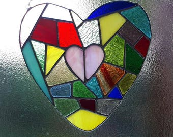 Mosaic stained heart glass suncatcher