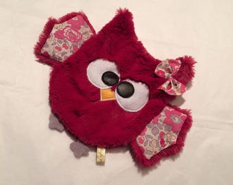Doudou OWL kleur frambozen / uilen / OWL / uil / uilen / geboorte cadeau / pasgeboren. Franse productie