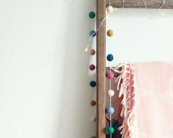 Boho home decor, felt ball garland, wall decoration, hanging wall decor, Bohemian, boho style, gift, new home gift, gift for her, felted