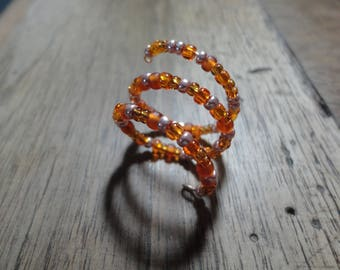Orange-gold seed beads ring