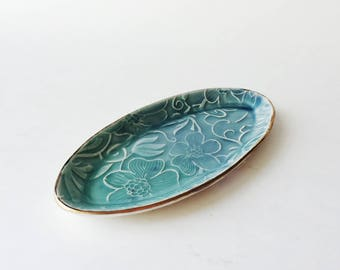 Ceramic Floral Ring Tray/ Trinket Dish in Teal