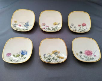 Vintage Set of 6 Pretty Petit Four or Confectionary Plates in Porcelain by Krautheim, Selb Bavaria Wiesengrund and Bergeshöhn from the 1950s